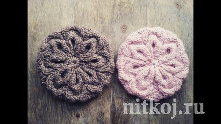 Шапка спицами «Розовый снег»