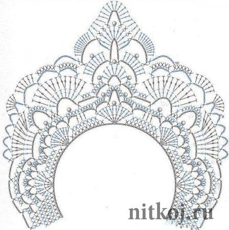 Схема вязания короны к новому году крючком