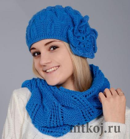 Шапка и шарф фантазийным узором