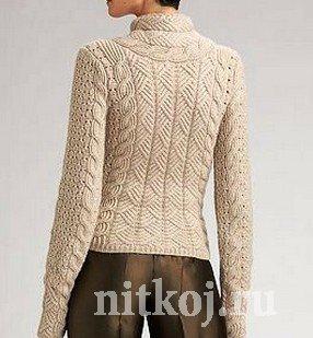 Жилет и свитер одинаковым узором спицами